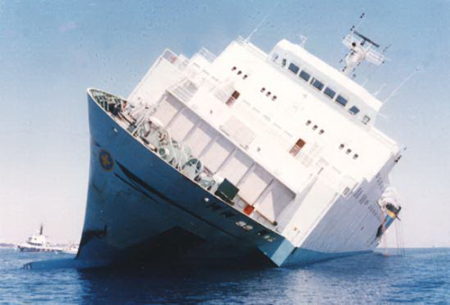 MS Zenobia capsizing in 1980.