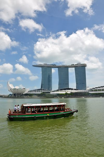 View of Singapore river and Marina Bay Sands building, one of new symbols of Singapore City